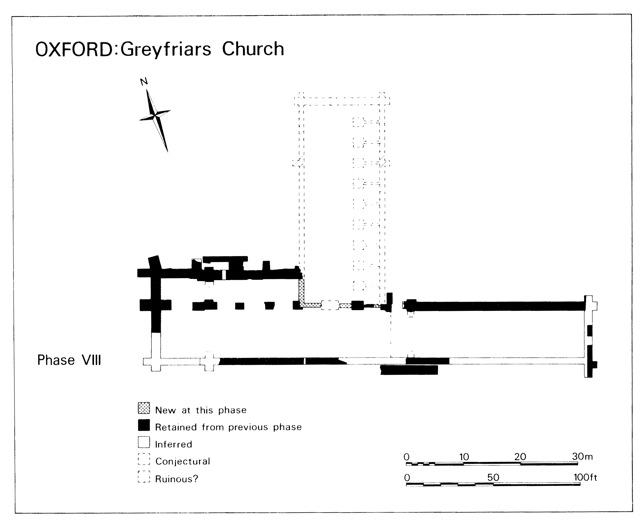 Fig. 7: Greyfriars after 1480, showing retrenchment of northern nave (Hassall, p. 189)