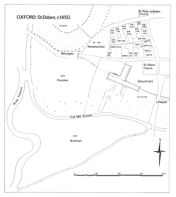 Fig. 8: Greyfriars and St. Ebbes, ca. 1450 (Hassall p. 276)